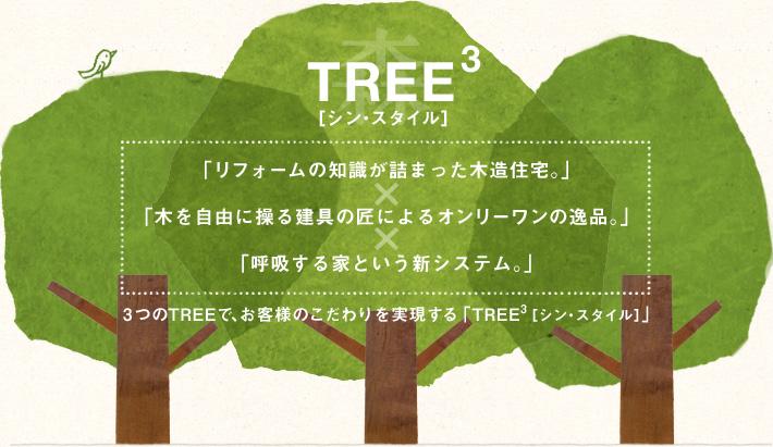 TREE3 シン・スタイル「リフォームの知識が詰まった木造住宅。」×「木を自由に操る建具の匠によるオンリーワンの逸品。」×「呼吸する家という新システム。」3つのTREEで、お客様のこだわりを実現する「TREE3[シン・スタイル]」